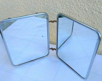 Vintage French travel mirror. Folding mirrors, snakeskin back.