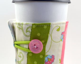 Reusable Coffee Sleeve- Pink, green and blue
