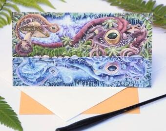 Salamander art blank card - 3.5 x 7- salamander note card - wildlife note card - surreal art card - fantasy art card - amphibian art - newt