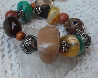 Bracelet ethnic ball resin quartz Donut two tones Entrpiezas Labradas silver ball with crystals embedded Ball pendant-Tiger's eye