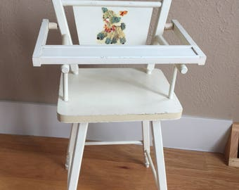 Vintage Doll High Chair - 50's - Baby Doll high chair -  Wood high Chair - wooden high chair -