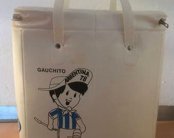 Coca Cola cooler for the soccer World Cup 1978 Argentina with Gauchito/vinyl bag
