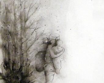 Oeuvre contemporaine originale sur papier aquarelle - Filtre - Encres de chine
