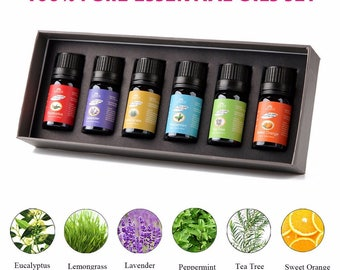 100% Pure 10 mL Essential Oils for Bath Massage Spa Aromatherapy essential oils  6 Pieces/Set Gift Box