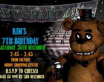 FNAF Five  Nights At Freddys Birthday Party Invitation
