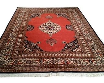 9x12 Vintage Tabriz Design Hand Made Knotted Rug - Tabriz deisng rug , wool, in orange, navy, earthtone colors - Size Cat. 9x12