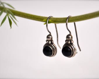 Vintage Silver Earrings with Onyx