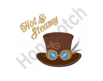 Hot & Steamy - Machine Embroidery Design, Hat