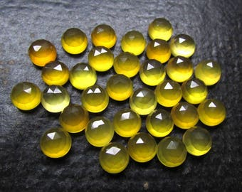 10 Pieces Lot 8mm YELLOW  CHALCEDONY Round Rose cut gemstone