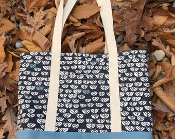 Large canvas tote, Blue Sproutlet