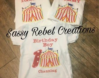 Circus Theme birthday shirts