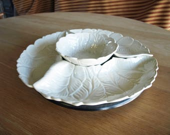 Vintage 4 Piece Sectional California Originals No # 333 Lazy Susan Style White Ceramic Serving Dishes – circa 50's
