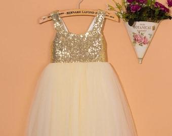 Ivory flower girl dress/gold sequins dress/tulle flower girl dress/baby girl  dress/backless flower girl dress/girl dress with bow 0083