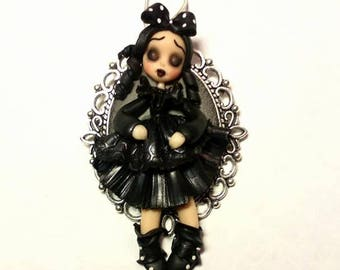 Polymer clay jewelry,goth doll,black dress doll,gift for her,miniatures,pendants,dolls,