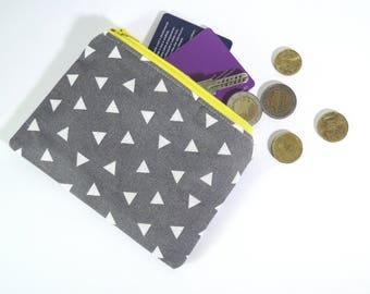 zipper pouch/coin purse/cotton/cardholder/handmade/grey/triangles/cotton/wallet/small case/cuciricuci