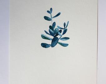 Hand painted water color plants watercolor minimalist pottery for Minimal art venezuela
