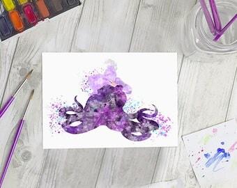 Disney Inspired Ursula Watercolour A5 Print