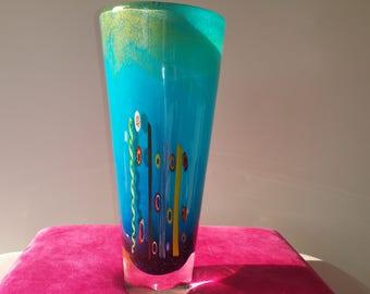 "Antique Hand Blown beautiful glass vase 11 1/4"" Tall"