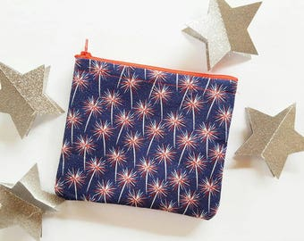 Red, White and Blue Patriotic FireWorks Makeup Bag