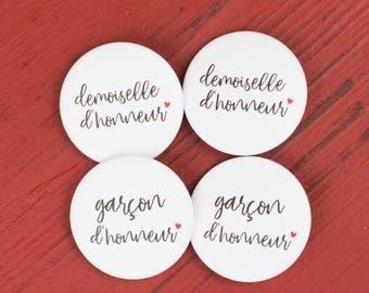 4 Badges mariage Demoiselle + Garçon d'honneur