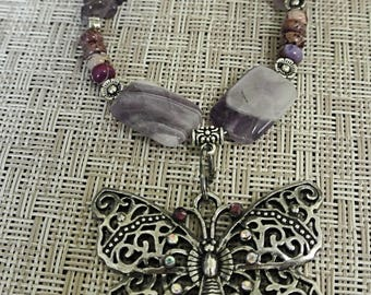 Amethyst Butterfly Pendant Necklace