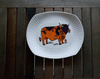 Beefeater Steak and Grill Plate English Ironstone Pottery Staffordshire England / Assiette vintage taureau Beefeater Ironstone
