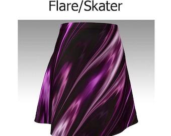 Amethyst Skirt, Purple Skirt, Purple and Black, Flare Skirt, Skater Skirt, Fitted Skirt, Bodycon Skirt, Swirl Skirt, Cute Skirt, Short Skirt