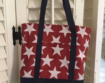 Red, white and blue tote