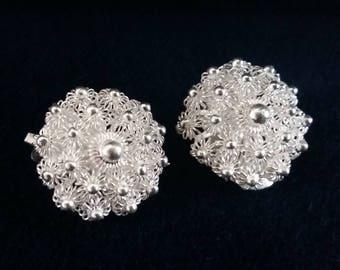 Silver Clip On Earrings Charro Blanco, Sterling Silver Earrings, Charro Earrings, Handmade Clips, White Earrings, Beautiful, Gift Idea