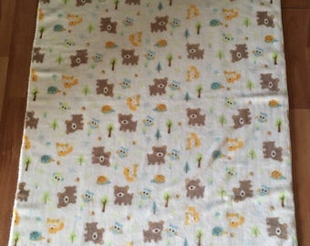 baby blanket baby child in the forest animals minky bear Fox OWL cream white Hedgehog