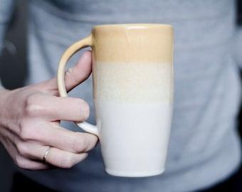 Handmade Ceramic Mug, Coffee Mug, Pottery Mug, Sunset Mug, Daughter Gift, Orange, Thank You Gift, Foodie Gift, Housewarming gift, Tall Mug
