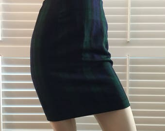 Green and Blue Wool Plaid Skirt