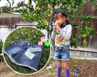 Cute Lace Hem Denim Shorts