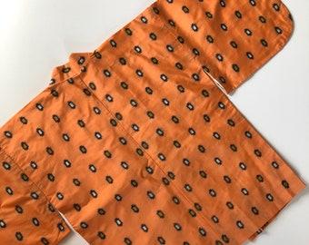 Peach-orange 100% silk meisen kimono jacket