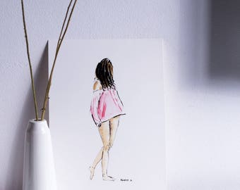 Pink blouse - reproduction of original watercolor Karine D.