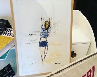Happy blue - repro Karine D original watercolor.
