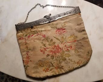 Vintage Floral Evening Purse With Ornate Metal Opening and Clasp