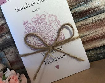 Passport & Boarding Pass Wedding Invitations in Pearlised Card