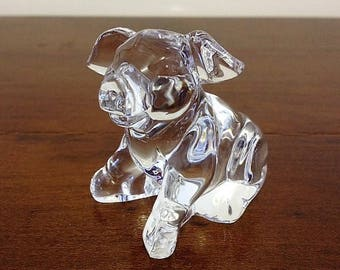 Pig Figurine by Cristal D'Arques 24% Lead Crystal Vintage Pig Ornament Miniature Crystal Animal Sculpture Made in France