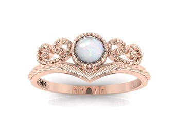 opal wedding ring, white opal engagement ring, October birthstone ring, rose gold opal wedding band, 14k gold opal ring, Opal diamond ring