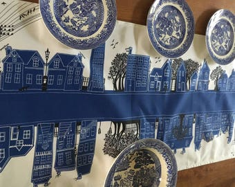 Blue and white table runner - blue table linen - table top decoration- Chic Modern home ware Funky designed item-Lovely Gift idea for couple