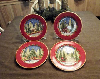 Sango *-* Christmastime in the City *-* Set of 4 Salad Plates, Designed by Chuck Fischer