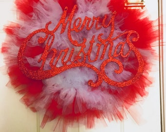 Red and white Tule Christmas Wreath