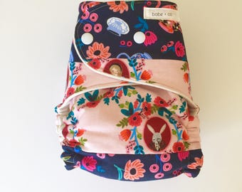 Alice's Tea Party OBF Hybrid Fitted Diaper - OS Hybrid Fitted Cloth Diaper - OS Fitted Diaper with Fold Down Rise-One-of-a-Kind Cloth Diaper