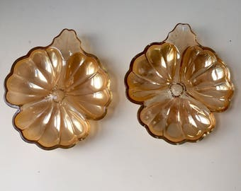 Two glass leaf candy dishes, 1970's
