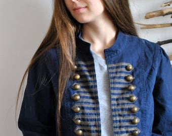 Womens military style jacket 1990s 1980s vintage buttoms blue coat
