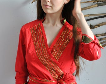 Red gold womens vintage blouse 1990s 1980s Sequins arabian shirt