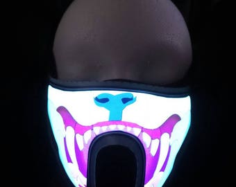 Bear Teeth Sound Activated LED Rave Mask for DJ, Edc, Ultra, Music Festival, Concerts, Club, EDM, Costume, Cosplay, Dance, Music
