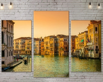 Art Print on Canvas, Large Wall Art , Venice , River, Canoe, Canvas Art, Interior Art, Living Room Decor, Extra Large Art