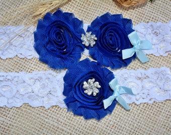 Bridal Garter, Keepsake Royal Blue Garter, Wedding Garter Set, Something Blue, Handmade Garter, Toss  Navy Blue Garter,  Lace Bridal Garter